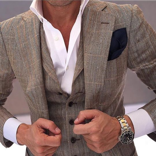 Gris Plaid Men Slim Fit trajes de novio Dos botones de muesca solapa - Ropa de hombre