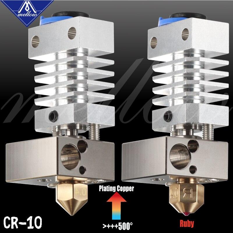 Parte superior mellow todo o metal cr10 hotend chapeado bloco de cobre & titanium heat break 3d impressão j-head hotend para ender 3 cr10 etc
