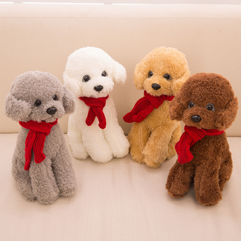 Animals Toys Color : Colors cm sitting teddy dog with red scarf plush