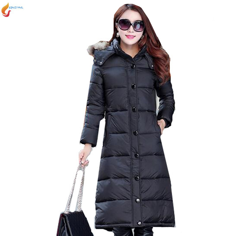 Medium long down jacket 2017 Latest Fashion Women Winter Hooded fur collar Super Keep warm Big yards Leisure Women Coat G1321 2017 new winter fashion women down jacket hooded thick super warm medium long female coat long sleeve slim big yards parkas nz18