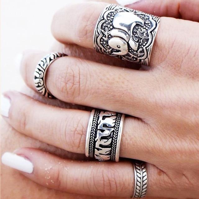 4PCS Ethnic Vintage Elephant Rings Set Unique Bohemian Antique Silver Plated Tot