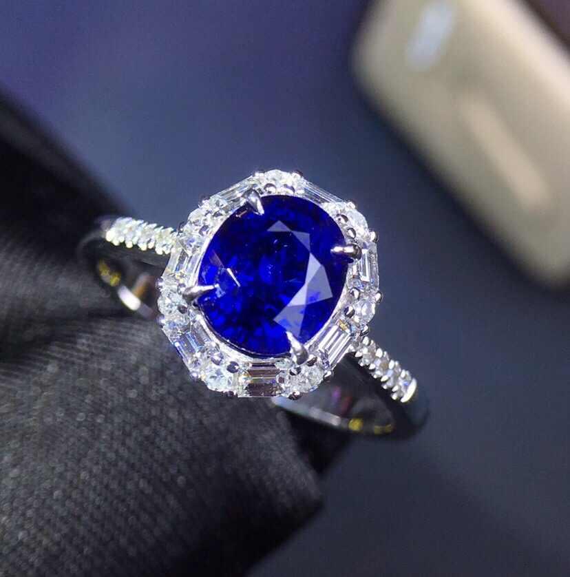เครื่องประดับ 18 K สีขาวธรรมชาติ 100% 1.75ct Blue Sapphire อัญมณี 18 k Gold เพชรหญิงแหวนสำหรับแหวนผู้หญิง