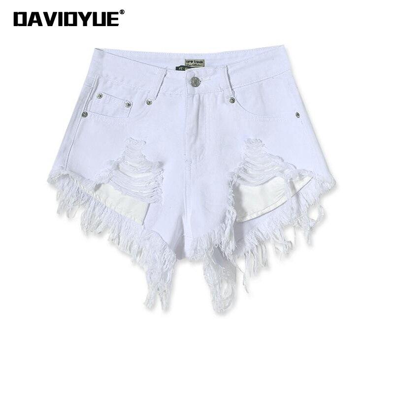 80bfaa4ac9 Fashion cotton Hot Denim Shorts women Sexy hole White Frayed Edges high  Waist short jeans 2018 casual pockets Ripped shorts
