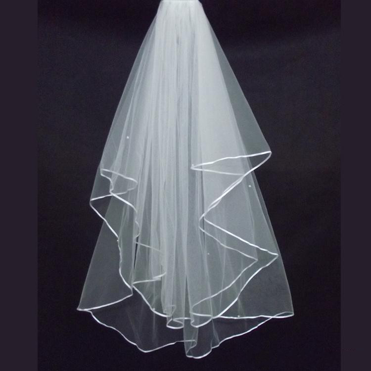 2015 2T White Ivory Wedding Bridal Accessories Pearls Ribbon Edge Comb Veil (2)_conew1