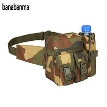 Banabanma Férfi Utazási Derékzsák álcázó Waist Pack tok vízalattartóval Vízálló 800D Nylon Belt Bag ZK30