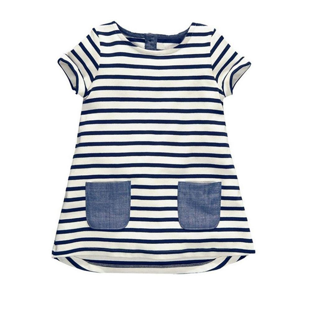 2 3 4 5 6 7 Year Girls Dress 2018 New Summer Style Short-Sleeved Kids Clothes Striped Cotton Children Clothing Girls Costume children s spring and autumn girls bow plaid child children s cotton long sleeved dress baby girl clothes 2 3 4 5 6 7 years