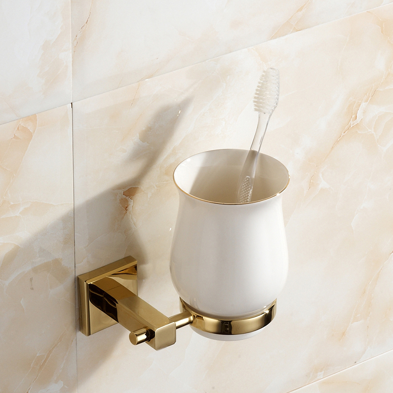 European Golden Copper Cup Holder Polished Solid Brass Toothbrush Holder With Ceramic Cup Wall Mount Bathroom Accessories G67  heavy bullet head bobbin holder with ceramic tube tip protecting lines brass copper material