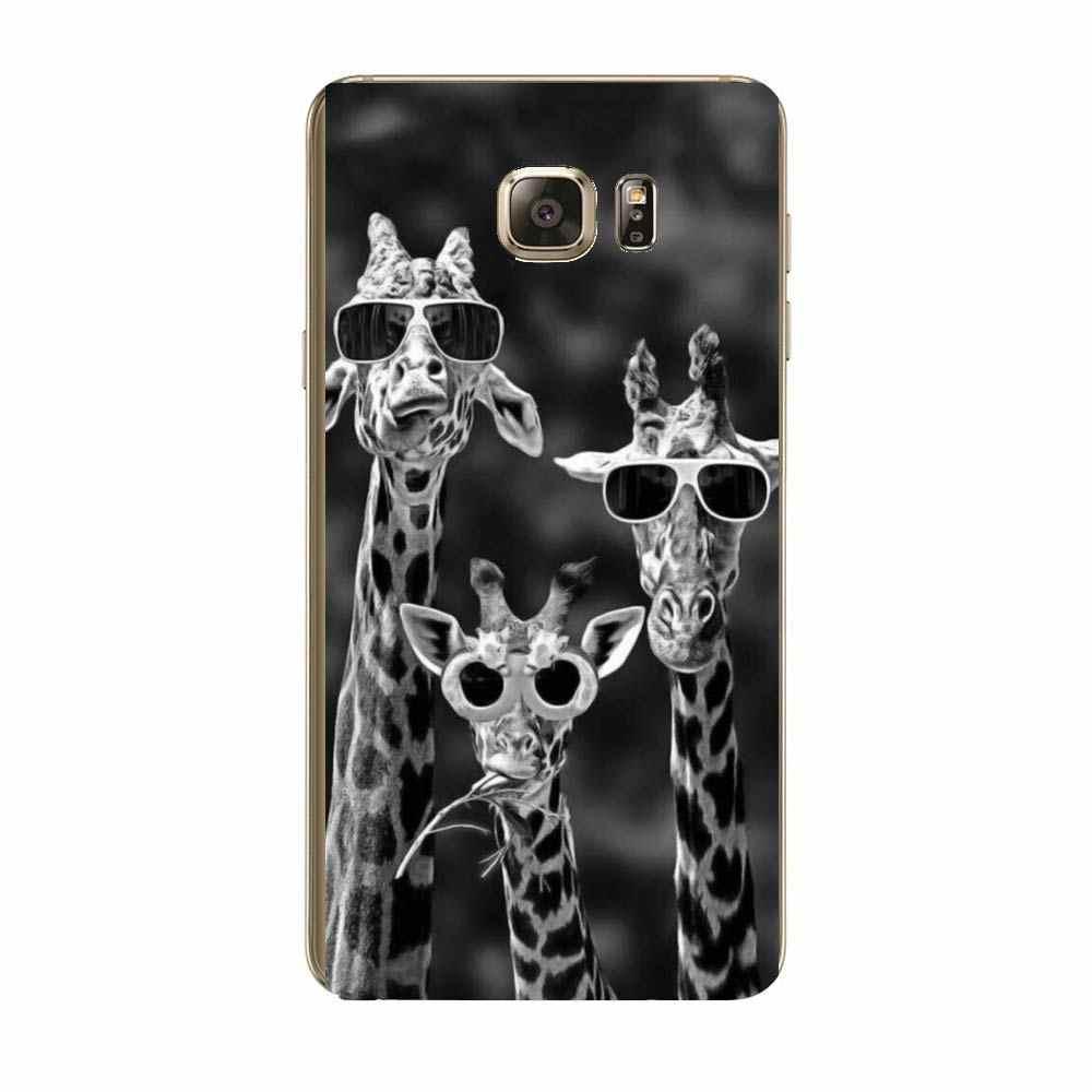 3 鹿虎ライオン猫魚クール黒アート電話ケース S6 S7 エッジ J1 2016 S8 S9 プラス A6 2018 S5 A5 ソフト TPU カバー