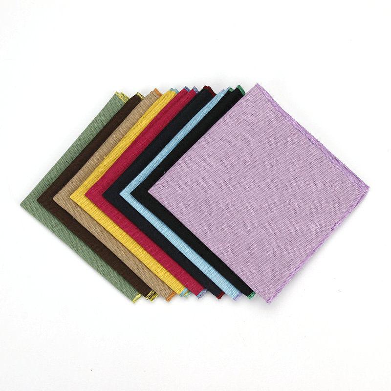 Men Cotton Solid Color Pocket Square Wedding Rolled Edge Handkerchief YFTIE0024