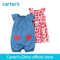Carter S 2 Piece Baby Children Kids Clothing Girl Summer Hearts Stripes Flutter Sleeves Dress Romper