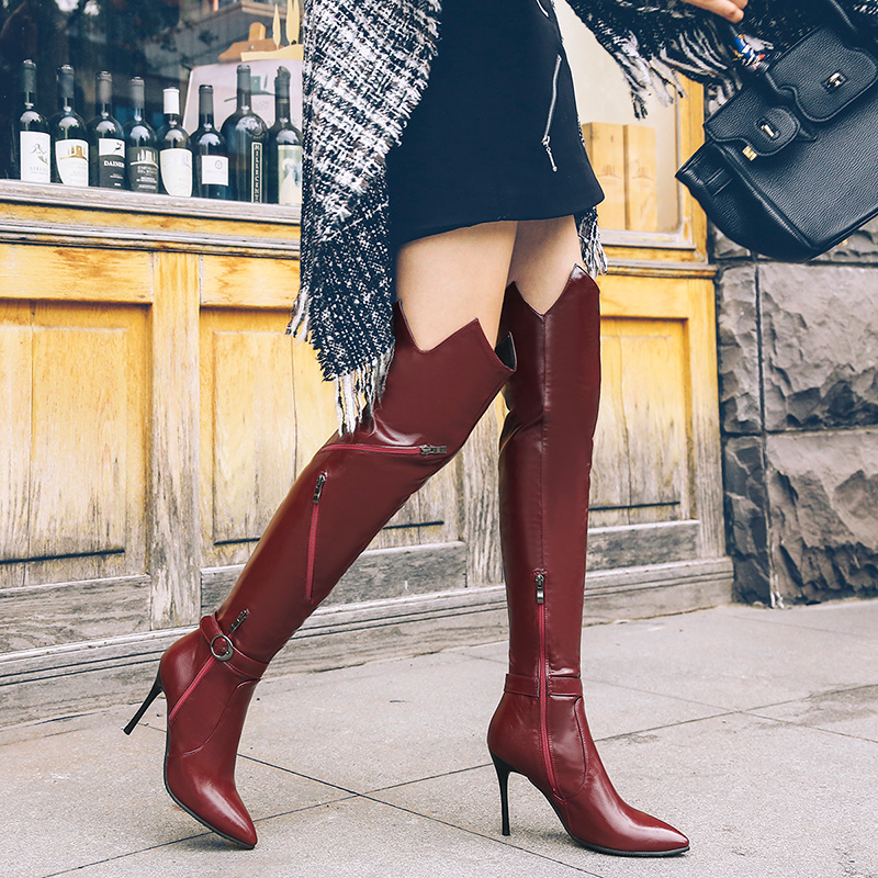 2018 Autumn Winter Women Boots Stretch Slim Thigh High Boots Fashion Over the Knee Boots High Heels Shoes Woman Sapatos