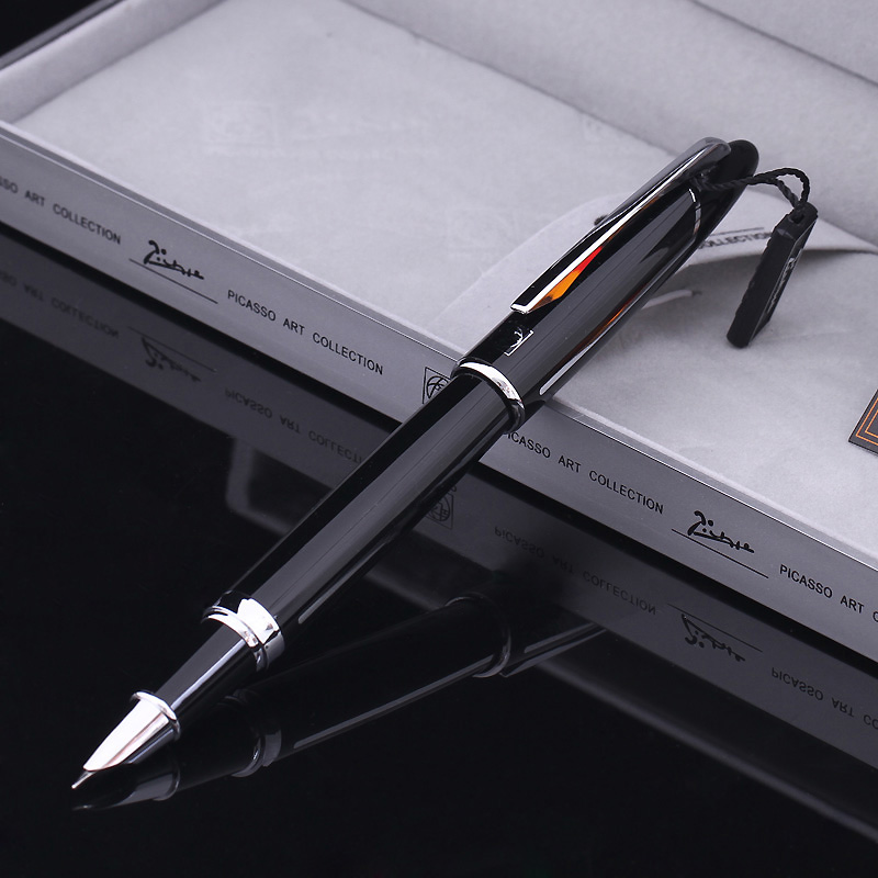 Picas ps-919 picasso baroque black silver financial pen fountain pen FREE shipping original picasso fountain pen ps 927 silver fountain pen high grade teacher leader gift white oracle green free shipping