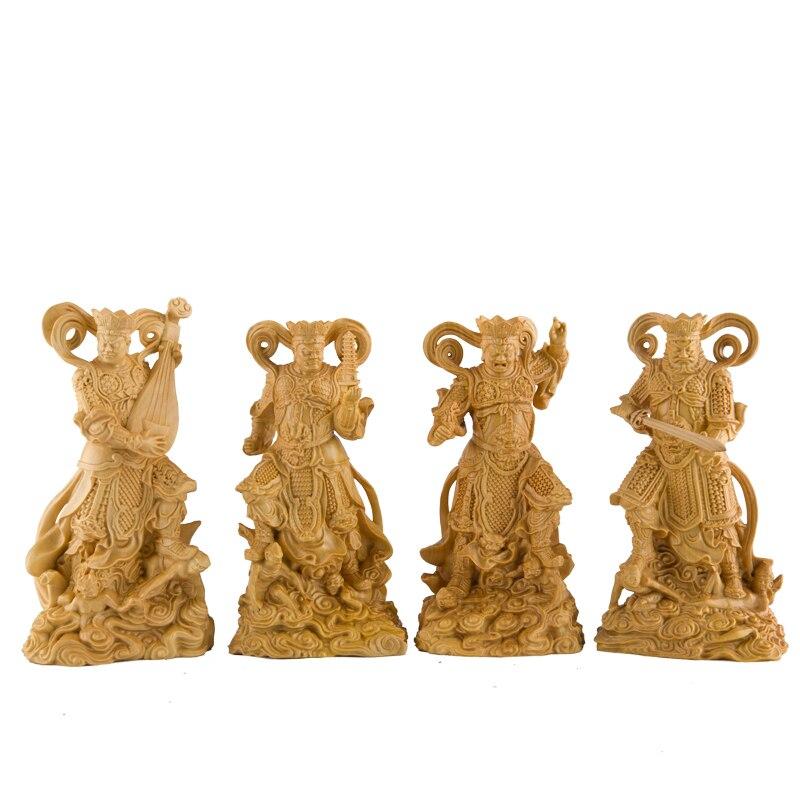 Les quatre rois sculpture quatre dieux bouddhistes bouddha statue Lokapalas bois bouddha décor statue décoration-in Statues et sculptures from Maison & Animalerie    1