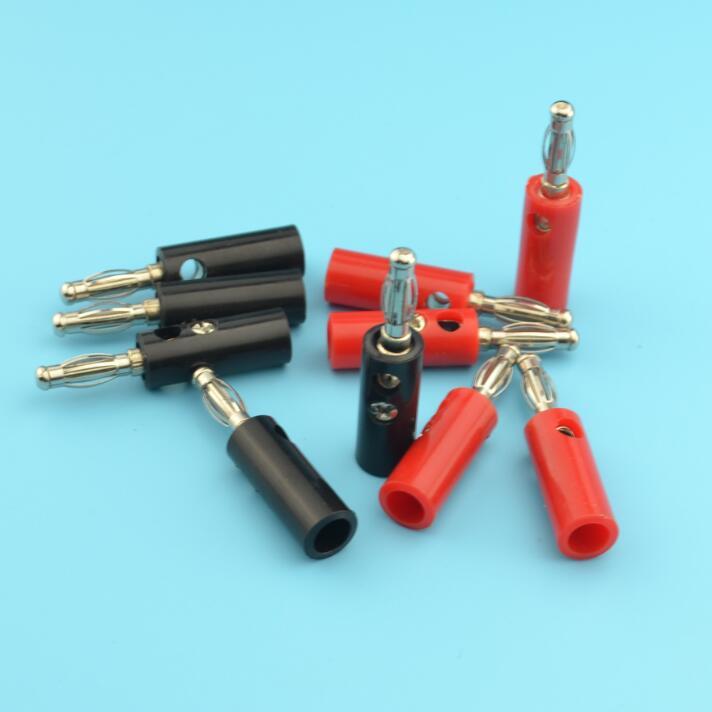 50pcs Black & Red Wire Audio Speaker Cable Banana Plug Connectors ...