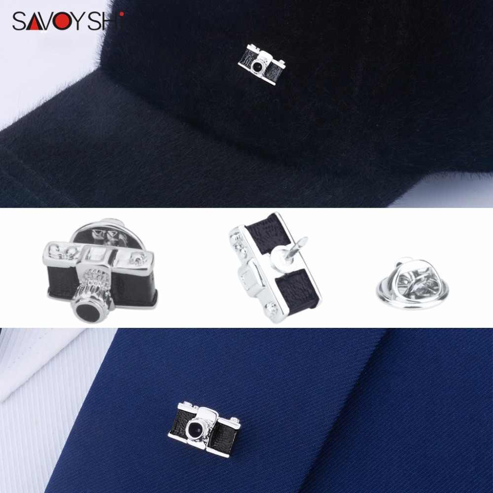 SAVOYSHI בציר מצלמה סיכות לגברים חליפת תגי סיכת סיכות צווארון מעוטר חולצה אביזרי גאות מחוך מותג תכשיטים