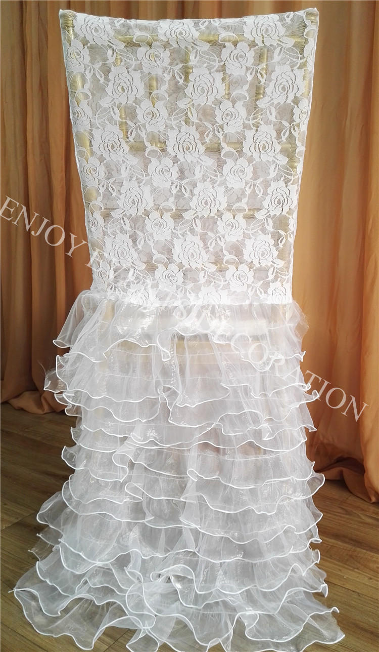 chair back covers wedding hire surrey ᐅ50pcs yhc 192 fancy elegant lace pleats layered organza polyester 50pcs banquet chiavari cover