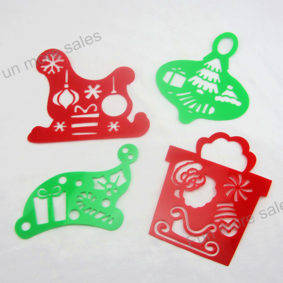 4Designs Stencils Christmas Kids drawing template Plastic xmas painting boards DIY baby children hot educational toys max153mm