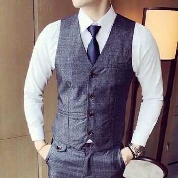 Suit Vest British Wedding Slim Fit Men