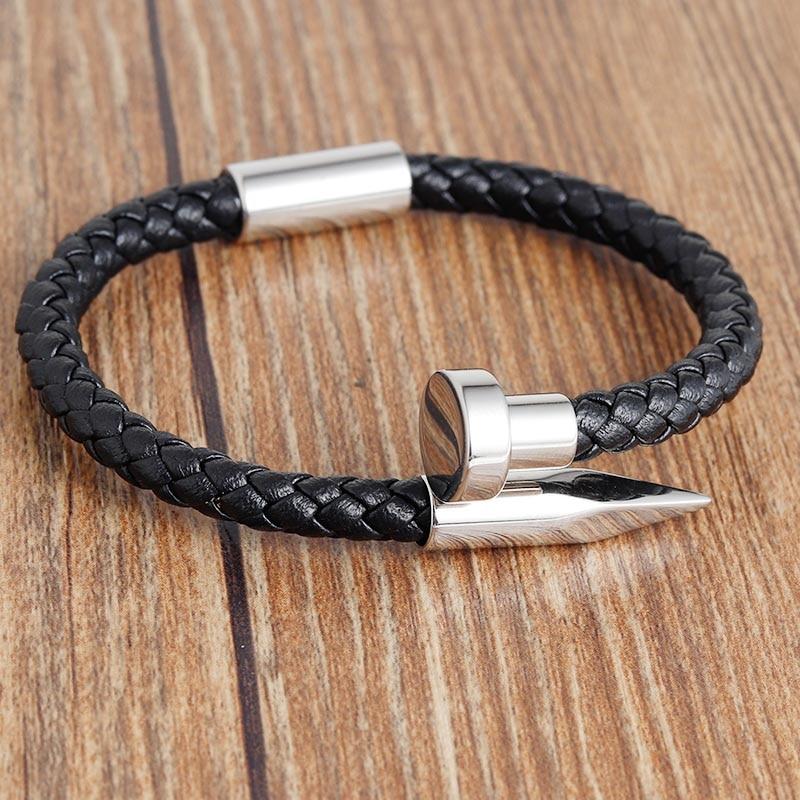 Bracelet à ongles Punk Bracelets en cuir pour hommes noir argent fermoirs magnétiques en acier inoxydable Bracelets classiques cadeau bijoux pour hommes 5