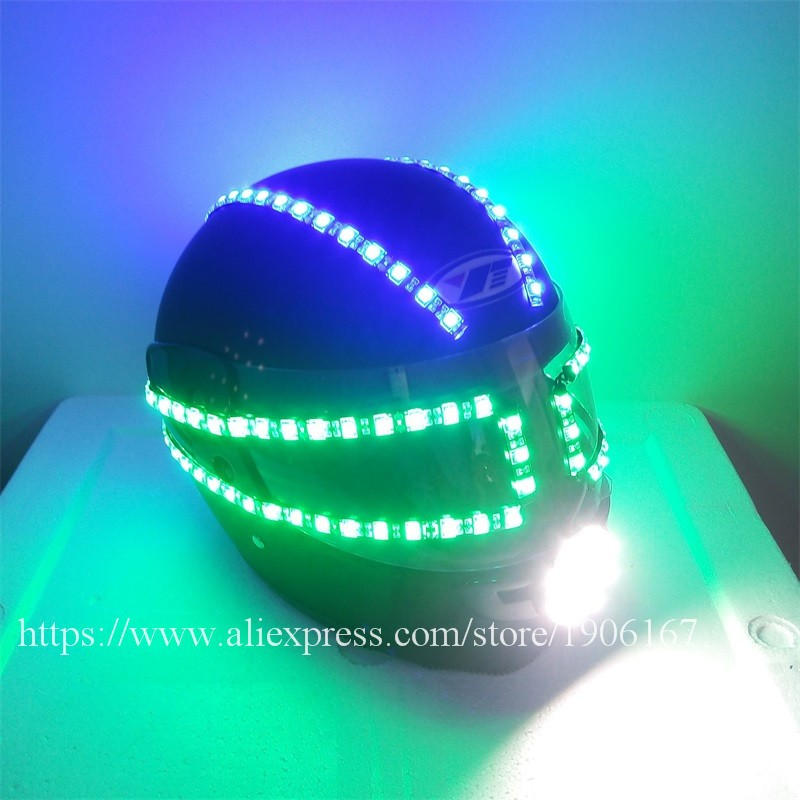 Colorful led luminous robot helmet04