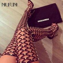 Сапоги выше колена; открытые сандалии; сапоги-гладиаторы на высоком каблуке с заклепками; высокие сапоги для ночного клуба; модная обувь для вечеринок на шнуровке с кисточками