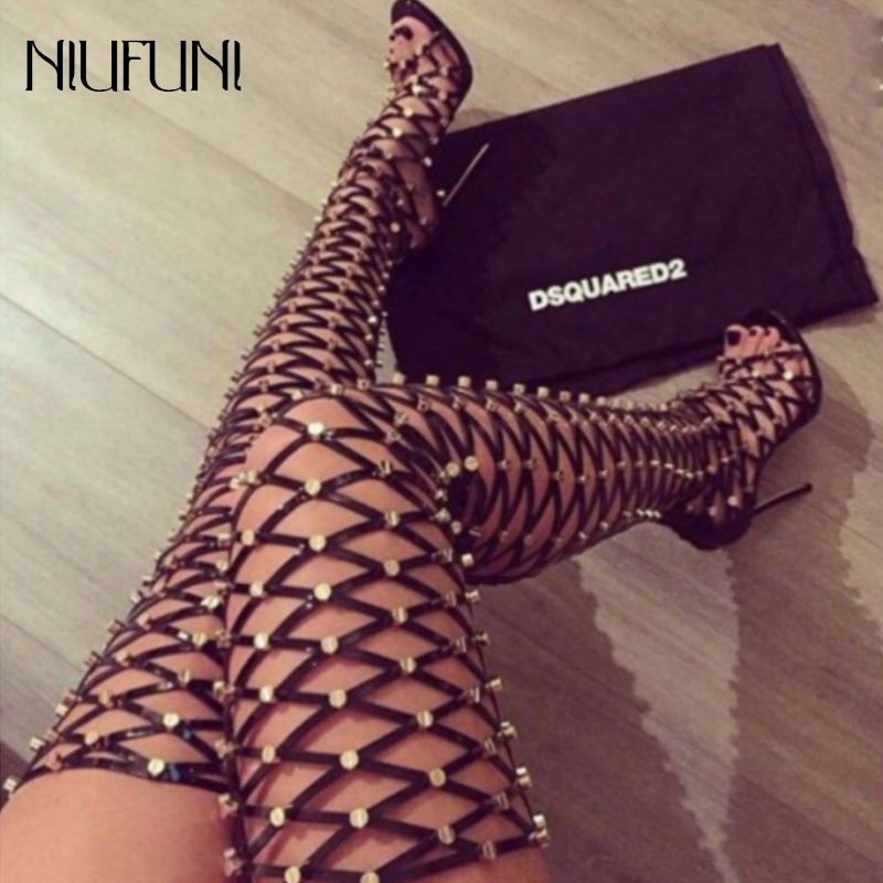 Over The Knee Boots Hollow Sandals Boots Gladiator High Heels Rivet Night Club High Boots Fashion Tassel Lace Up Party Shoes