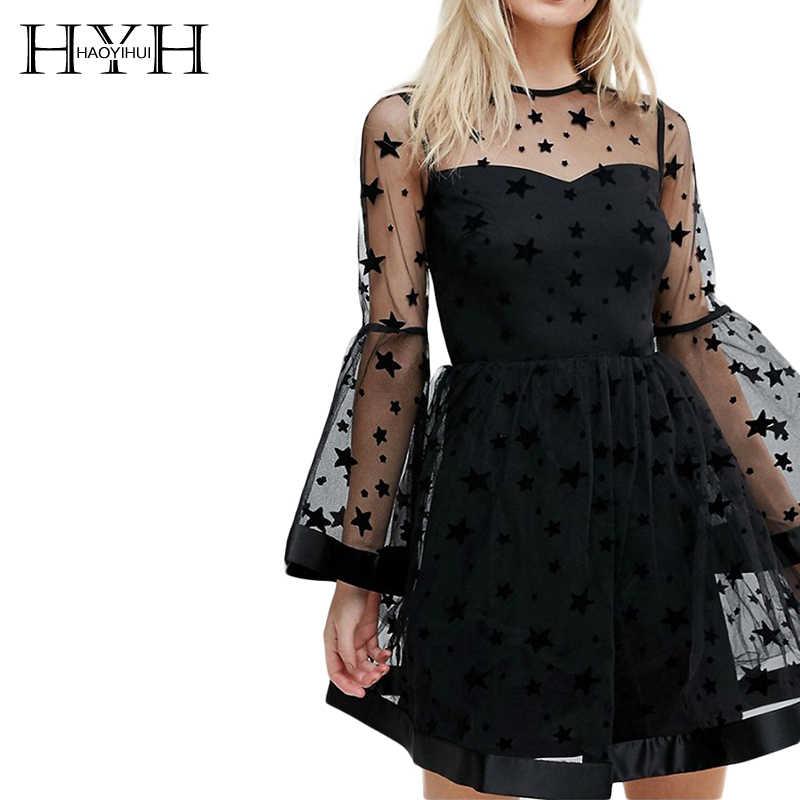 HDY Haoduoyi Марка женский, Черный со звездным принтом; кружевное сексуальное, рукав-фонарик из прозрачной сетки с низким вырезом на спине платье; Vestidos женское платье мини-платье