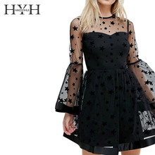 HYH Haoyihui Brand Women Black Stars Print Lace Sexy Flare Sleeve Sheer Mesh Backless Female Vestidos Ladies Mini Dress недорого