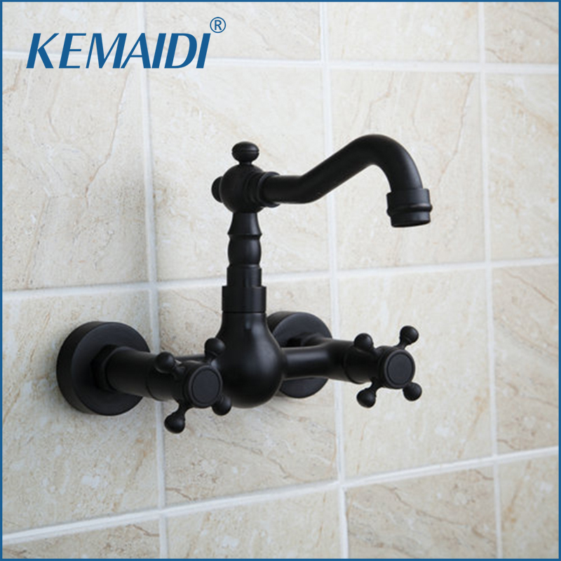 KEMAIDI Bathroom Sink Faucet Double Handles Bathtub Mixer Wall Mounted Oil Rubbed Black Bronze Swivel Spout Torneira Tap black oil rubbed bronze bathroom accessory wall mounted toothbrush holder with two ceramic cups wba197