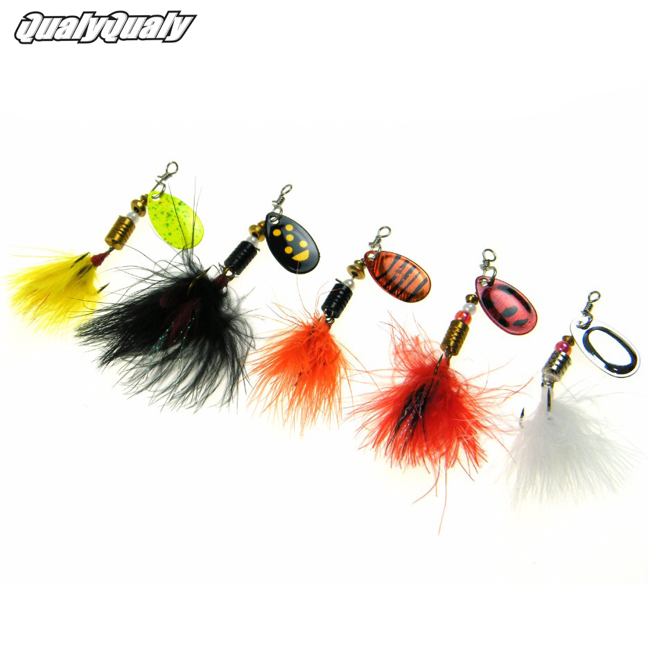 5pcs/Lot 3g 1/10 oz Chicken Feather Fishing Lure For Catfish Wobbler Spinner Spoon Lures Bait With Treble Hooks Tackle Kit 4pcs set of fishing lures saltwater hard bait metal spoon fishing lure spinner wobbler treble hooks for sea fishing accessory