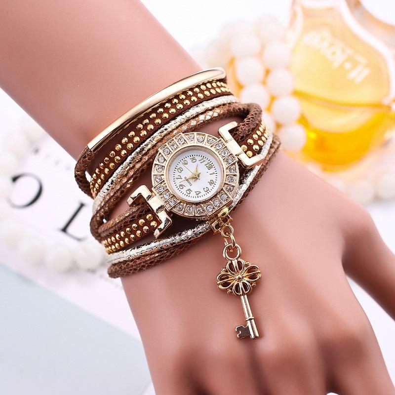 New Style Fashion Gold Key Pendant Circle Braided Bracelet Wristwatch Women Dress Casual Diamond Quartz Watch Relogios Femininos