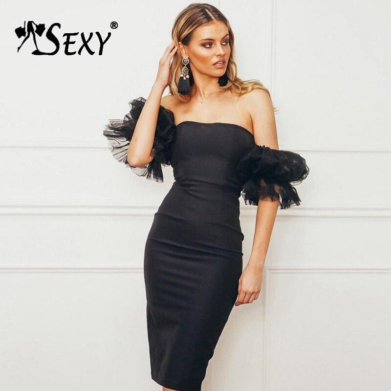 Gosexy 2019 New Women Elegant Summer Bandage Dress Puff Sleeve Mesh Slash Neck Knee Length Lace Party Dress Sexy Dress Vestidos-in Dresses from Women's Clothing    1