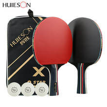 3-Star Table Tennis Blade 2 Pcs Carbon Table Tennis Rackets Pimples In Huieson Pingpong Racket With Bag Table 5 Ply Tenis Raket(China)
