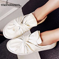Big Bowtie Fashion Women Flats Espadrilles White Casual Loafers Slip On Platform Flat Shoes Woman Ballet Shoe Creepers Mocassin