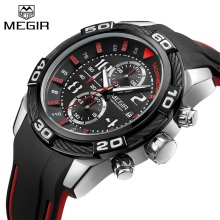 Relogio Masculino MEGIR Mens Chronograph Sport Watch Luxury Brand Military Casual Watches Silicone Band Male Quartz Wristwatch