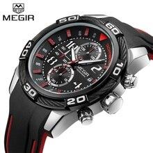 Relogio Masculino MEGIR montre homme chronographe Sport de luxe marque militaire décontracté bande de Silicone homme montre bracelet à Quartz