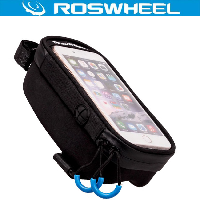 ROSWHEEL Front Frame Top Tube Bag Bicycle Bag MTB Bike Cycling Bag Touchscreen Bags Accessories Anti Skid for 5.2 5.7 inch Phone