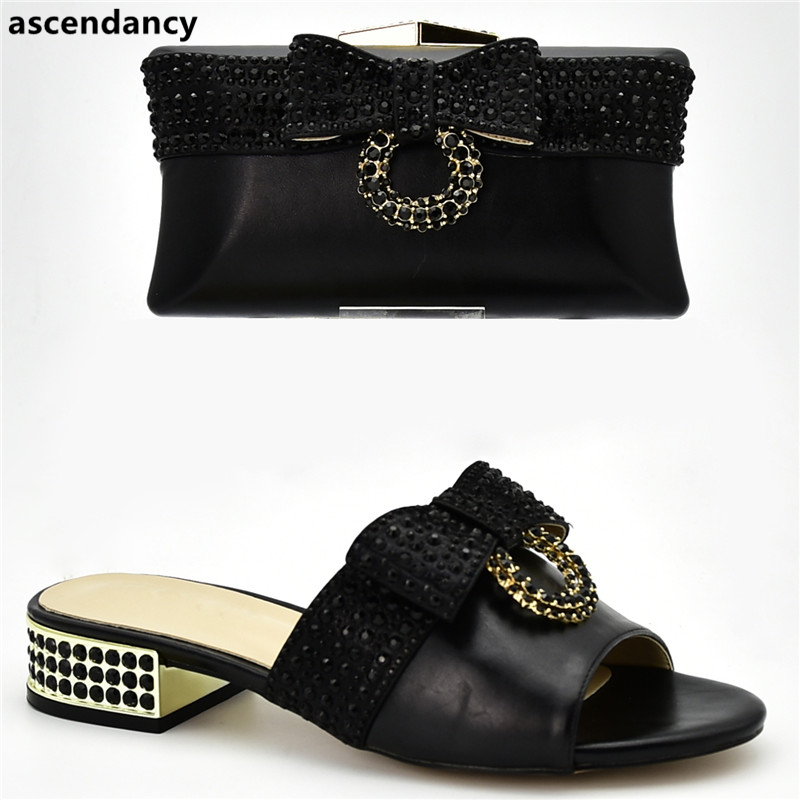 Latest Italian Shoe And Bag Set Decorated With Rhinestone Luxury Shoes Women Designers Sales In Women Matching Shoes And Bag Set