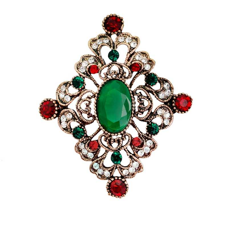 Vintage Geometric Big Green Stones Crystal Rhinestone Brooch Pins Women Accessories Brand Bridal Christmas Brooches