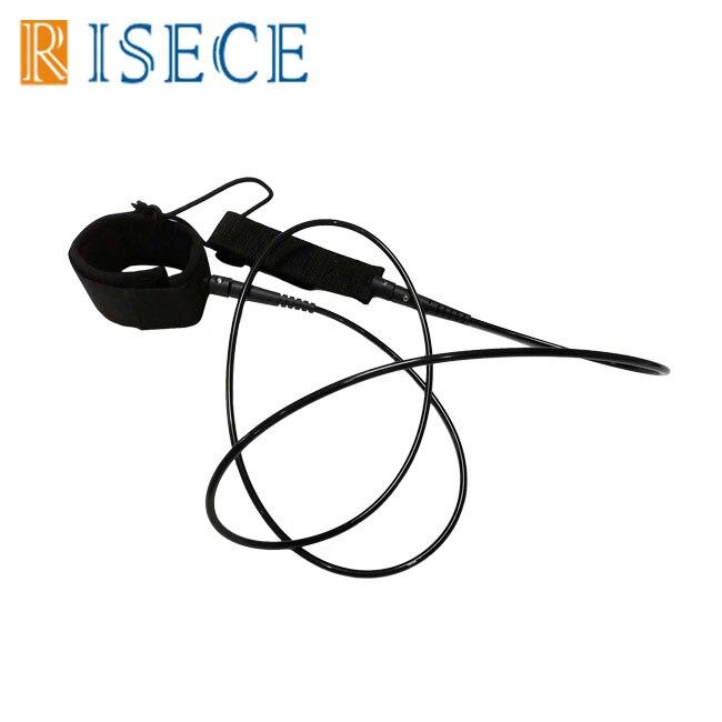 Черный 6 футов 5,5 мм поводок для серфинга ТПУ поводок для доски для серфинга веревка прямой поводок для лодыжки Двойная Поворотная веревка д...