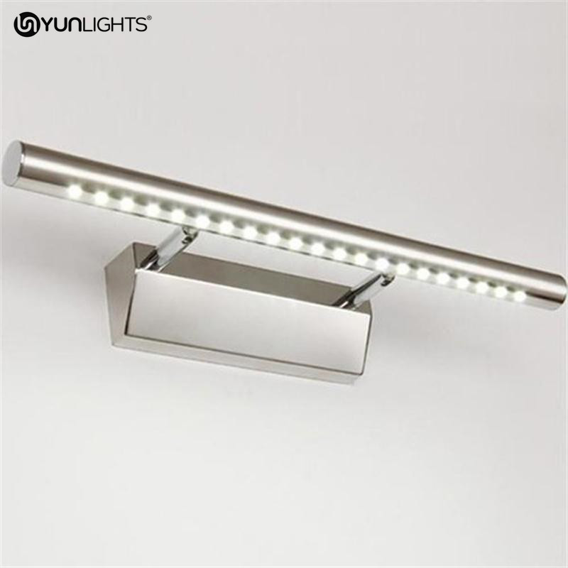 YUNLIGHTS AC 85V-265V 5W 21Led SMD5050 Wall Lamp Natural White Stainless Steel LED Mirror Front Light LED Bathroom Wall Light