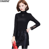 Winter Women Tops 2017 New Fashion Lace Stitching High necked Long Sleeves Thicke Warm Long Bottom Shirt Women Clothing YAGENZ