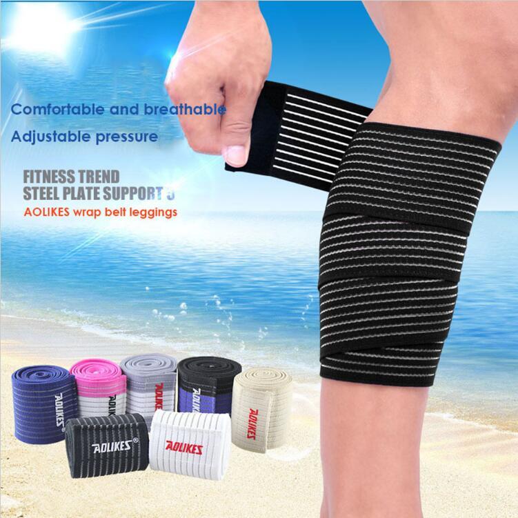 1Pair 90 * 7,5 cm Powerlifting elastični povoj podloge za nogo Kompresija tele kolena Podporni trak Ovojni trak Športna varnost A