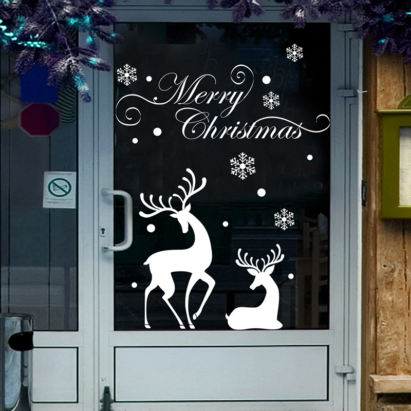 Christmas Wall Stickers Restaurant Shopping Window Wave
