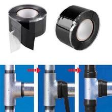 1 pc Self-Fusing Waterproof Rubber Silicone D Black Water Pipe Repair Adhesive Tape Tools Gas Pipeline Repair Tape недорого