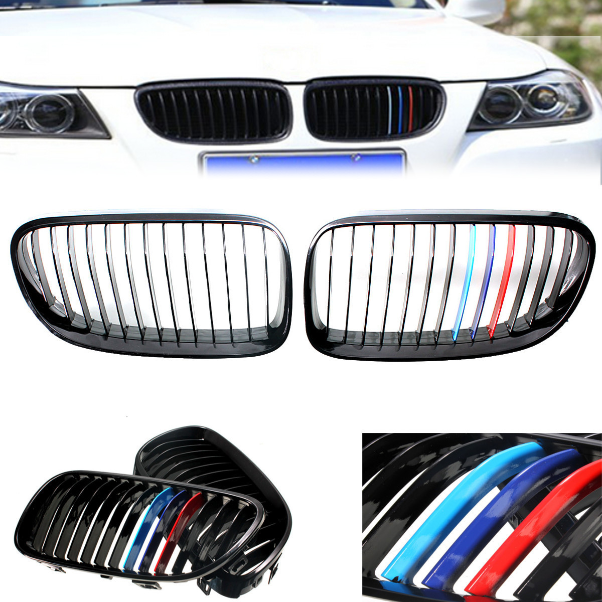 2pcs M Styling Car Front Hood Glossy Black Kidney Grill Front Grille for BMW E92 E93 2DR 2 Door Coupe car bight glossy black double slat front grille grill for bmw e92 lci facelift e93 2011 2012 2013 c 5