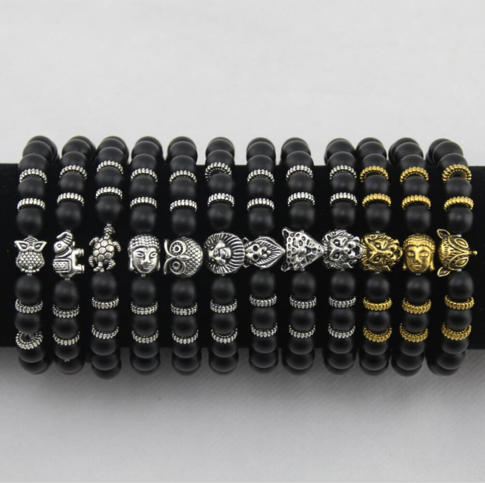 Natural Stone Bracelet Buddha Head Lion Leopard Head Owl Turtle Elephant Alloy Men and Women Bracelet BB0682