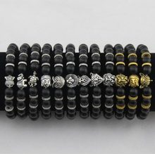 Natural Stone Bracelet Buddha Head Lion Leopard Head Owl Turtle Elephant Alloy Men and Women Bracelet BB0682(China)