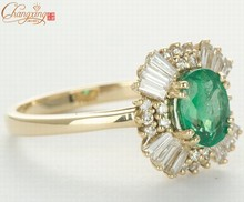 Solid 14CT Yellow Gold NATURAL COLUMBIAN EMERALD & Round/Baguette DIAMOND RINGS