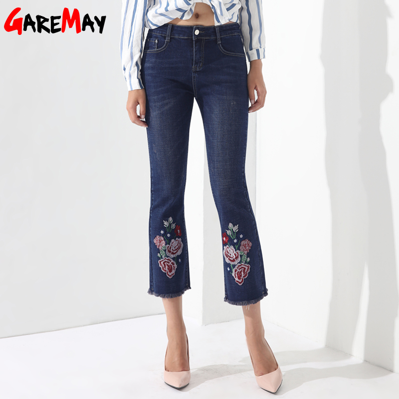 Jeans Female Embroidery Denim Pants Embroidered Flared Jeans For Women Capris Bell Bottom Tassel Pantalon Mujer Trousers GAREMAY fashion flowers embroidery jeans woman blue casual pants capris 2017 spring summer denim jeans female bottom trousers clothing